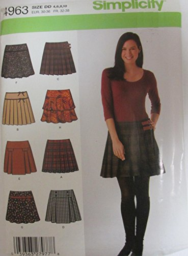 Simplicity 4963 Misses Mini Skirts Sewing Pattern Size 4 to 10 Pleated Flounce (Pleated Flounce)