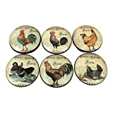 french country kitchen cabinets Set of 6 French Country Chicken Rooster Cabinet Knobs (Set 2)