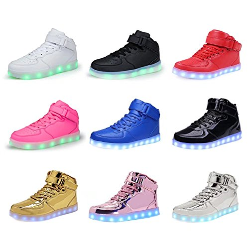 WONZOM FASHION High Top Velcro LED Light Up Shoes 7 Colors USB Flashing Rechargeable Walking Sneakers For Kids Boots With Remote Control(Toddler/Little Kids/Big Kids)-34(Shining Pink) by WONZOM FASHION (Image #6)