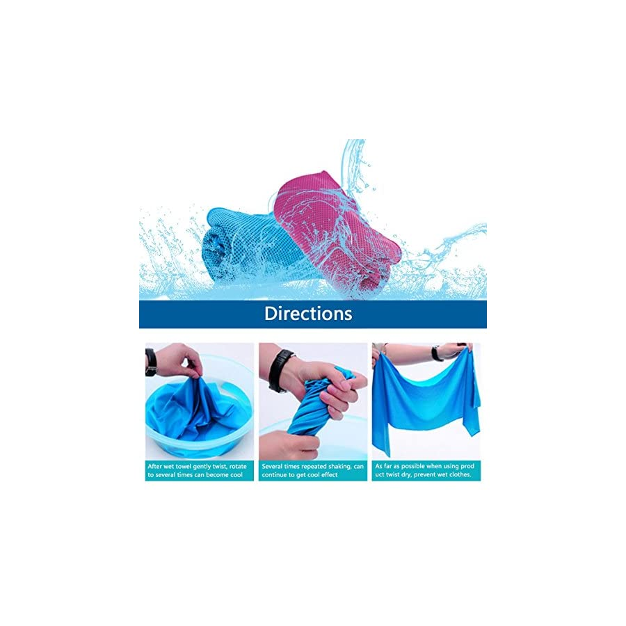 """Cooling Towel 2 Pack Made By KAMOTA 40""""x12"""" Snap Cooling Towel for Instant Cooling Relief"""