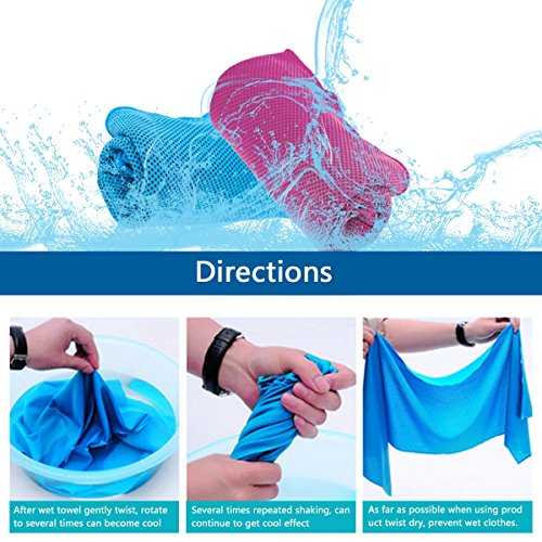"Cooling Towel 2 Pack Made By KAMOTA 40""x12"" Snap Cooling Towel for Instant Cooling Relief"