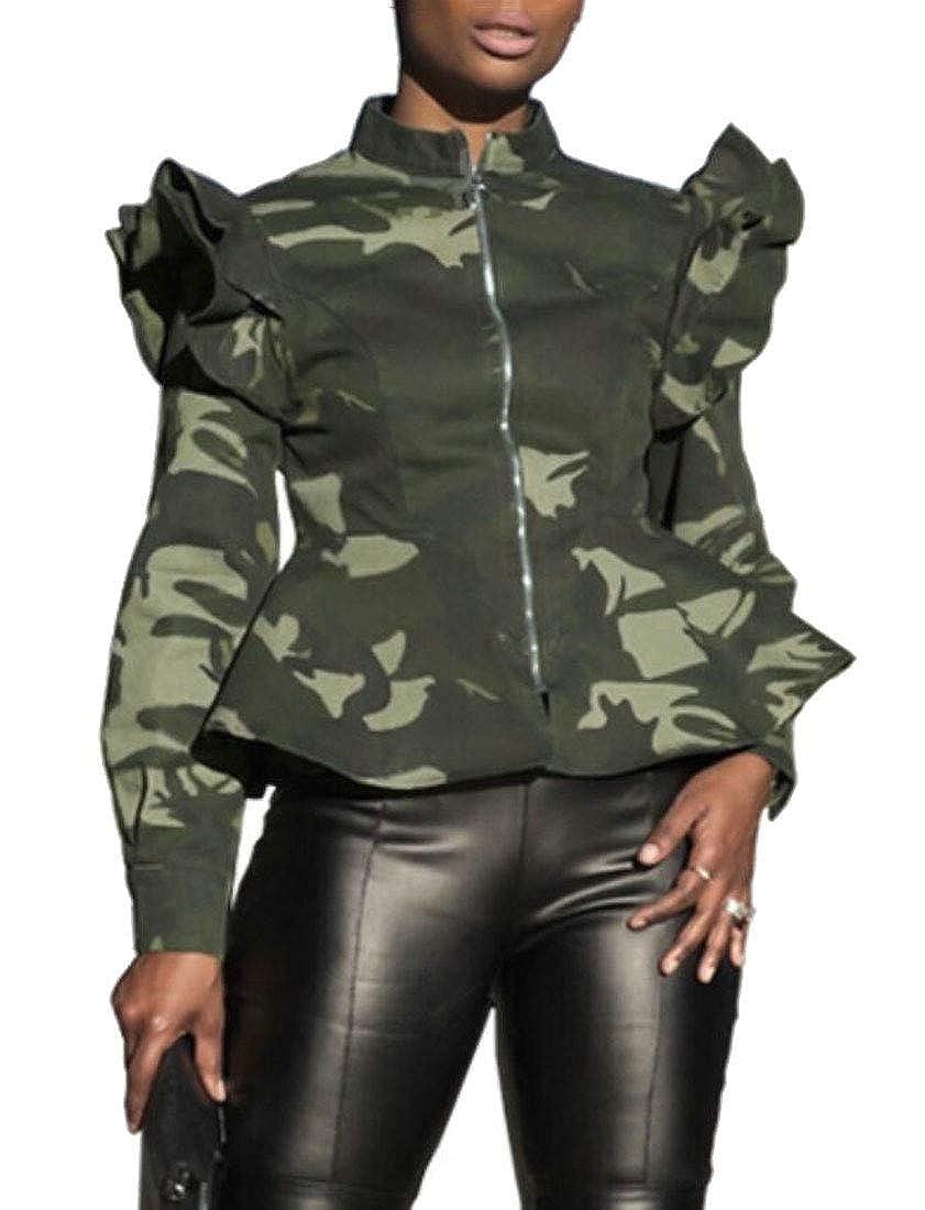 Gocgt Womens Long Sleeve Camo Fluffy Shaggy Jacket Cardigan Kimono Coat