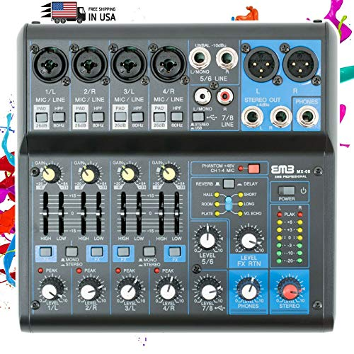 EMB Pro MX08 8 Channel Mixer Console with DSP Digital Effect +48V Phamtom Power (Best Preamp Processor 2019)