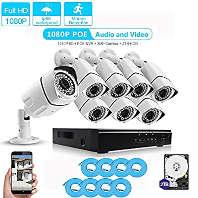 LOOSAFE [Audio & Video] 8CH 1080P POE Security Camera System NVR Kits with 2TB Hard Drive,8PCS Outdoor 2.0Mega-pixel Bullet Surveillance Cameras,Night Vision and IP66 Waterproof
