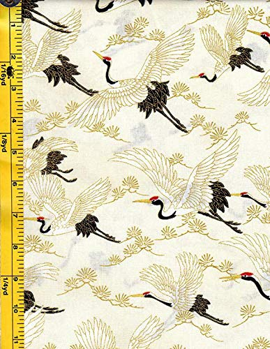 Japanese, Asian, Quilting, Sewing Fabric - Quilt Gate - 1000 Crane (Tsuru) Collection - Flying Cranes & Pines - HR3290-13A - - Asian Quilt Fabric
