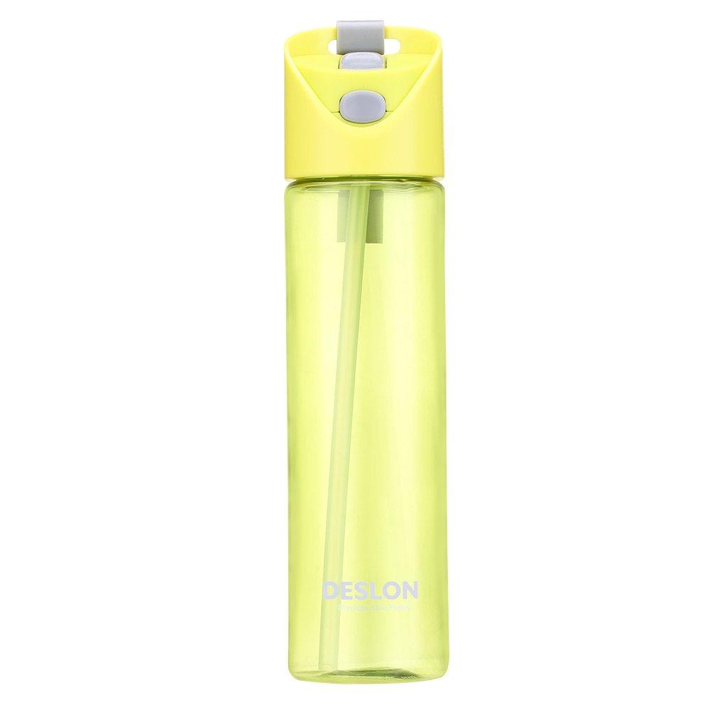 Deslon Kids Straw Water Bottleボタン開きTravel Mug for Women BPAフリー B072R5L94C グレー|26.5 センチメートル グレー
