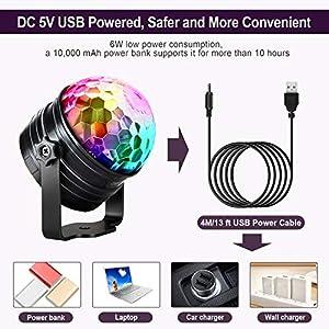 51i6q9htClL. SS300  - LED-Discokugel-Kinder-OMERIL-Discolicht-Musikgesteuert-Disco-Lichteffekte-RGB-Partylicht-Zeitgesteuertes-USB-Stimmungslicht-mit-7-Farben-4-Helligkeiten-und-Fernbedienung-fr-Kinder-Zimmer-Party