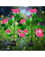 Solcellslampa trädgård utomhus – 2-pack LED solar garden stake lampor med 10 rosenblommor, solar sätt belysning dekoration för trädgård gräsmatta patio Yard gångbana dekoration regnsäker (rosa)