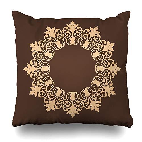 - ArTmall Throw Pillow Case Circle Border Round Abstract Circular Canvas Eastern European Slavic Ancient Design Pixel Zippered Pillowcase Square Size 16 x 16 Inches Home Decor Cushion Covers