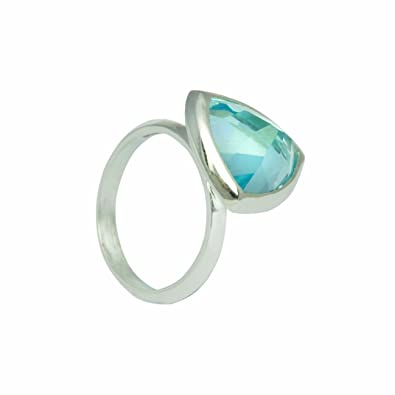 Woman by Katie Rowland Sterling Silver and Blue Topaz Gem Ring kYjEB2