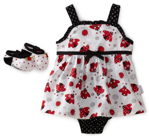 Vitamins Baby Ladybug Print Sunsuit with Shoe