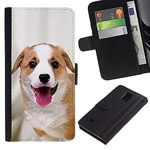 eJoy---La carpeta del tirón la caja de cuero de alta calidad de la PU Caso protector - Samsung Galaxy Note 4 IV - --Harrier English Foxhound Coonhound