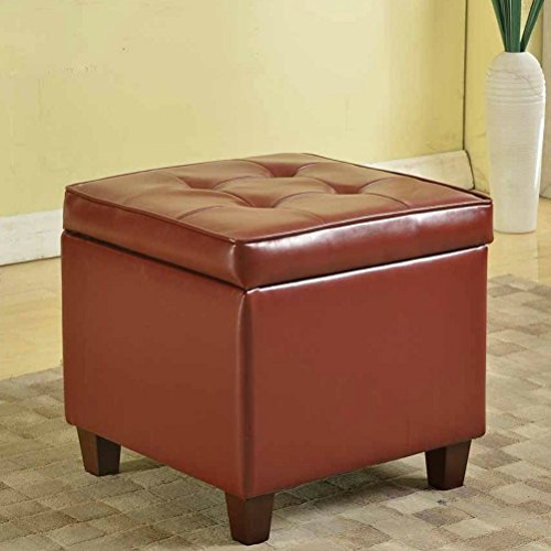 Burdou Storage Ottoman Coffee Table Cube Tufted Square Dark Red Leatherette Footstool Furniture