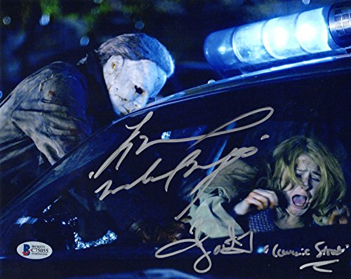 TYLER MANE & SCOUT TAYLOR COMPTON DUAL SIGNED 8x10 PHOTO HALLOWEEN BECKETT BAS