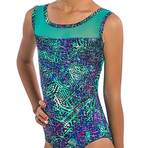 Lizatards Leotard Gymnastics Girls Adult Sizes: Blue Green Aztec Nylon Spandex Fabric with Back Mesh Inserts Adult Medium