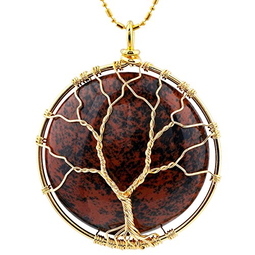 SUNYIK Round Mahagony Obsidian Tree of Life Pendant Necklaces for Women Handmade Reiki Healing Crystal