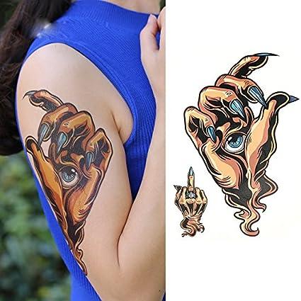 Oottati Tatuajes Temporales Old School Mano Ojo Dedo Medio ...