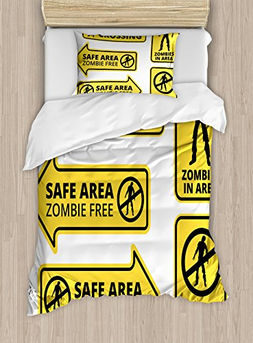 Ambesonne Zombie Duvet Cover Set Twin Size, Safe Area Zombie Free Safe Protection Zone Caution Sign from Horror Movie Design, Decorative 2 Piece Bedding Set with 1 Pillow Sham, Yellow Black by Ambesonne