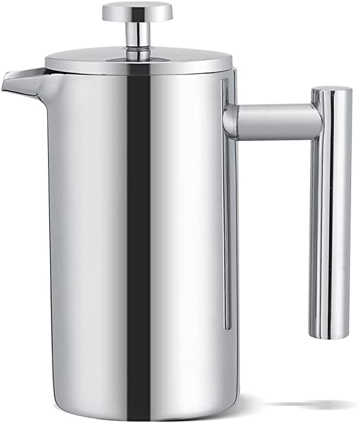 French Press - Cafetera de acero inoxidable, 350 ml, doble pared ...