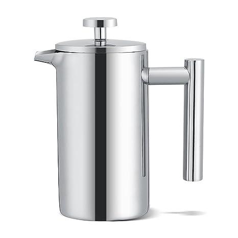 Cafetera de prensa francesa TOPINCN de acero inoxidable Espresso & Tea French Press Maker, doble pared, libre de óxido, 350 ml