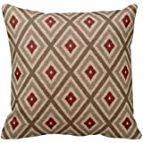 Soft Flannel Decorative Throw Pillow Covers Ikat Tribal Diamond Pattern Khaki Red Tan Couch Cushion