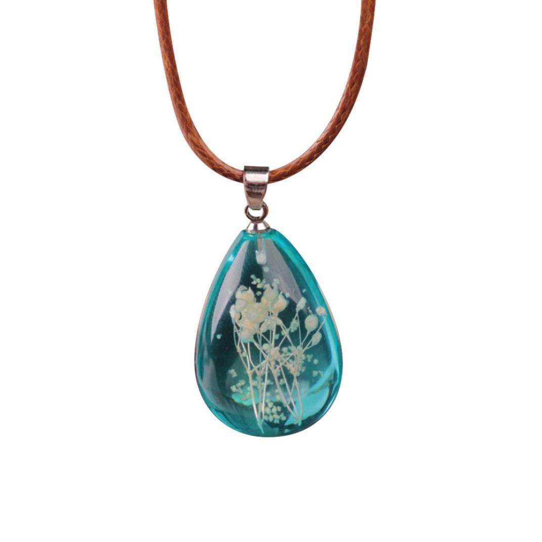 Clearance! Women's Charm Luminous Dried Flower Resin Teardrop Pendant Necklace Chain Jewelry (Sky Blue)