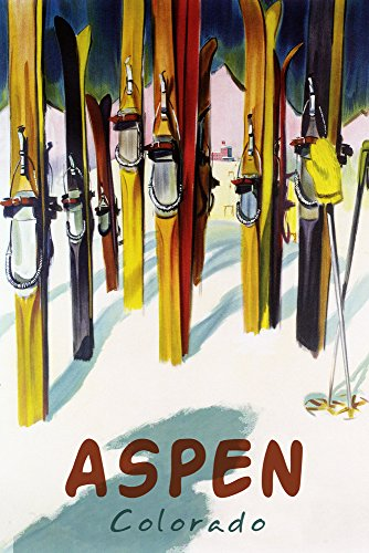 Aspen, CO - Colorful Skis (16x24 Giclee Gallery Print, Wall Decor Travel - Aspen Vintage Poster