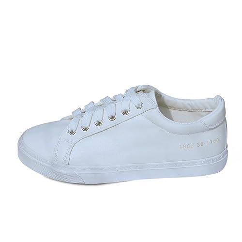 calzado deportivo ocasionales con cordones plana transpirables/ zapatos de Carrefour-blanco Longitud del pie