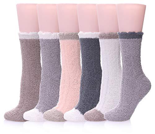 LANLEO 5 Pairs Womens Super Soft Fuzzy Plush Warm Winter Home Sleeping Slipper Socks 6 Pairs Solid Color B