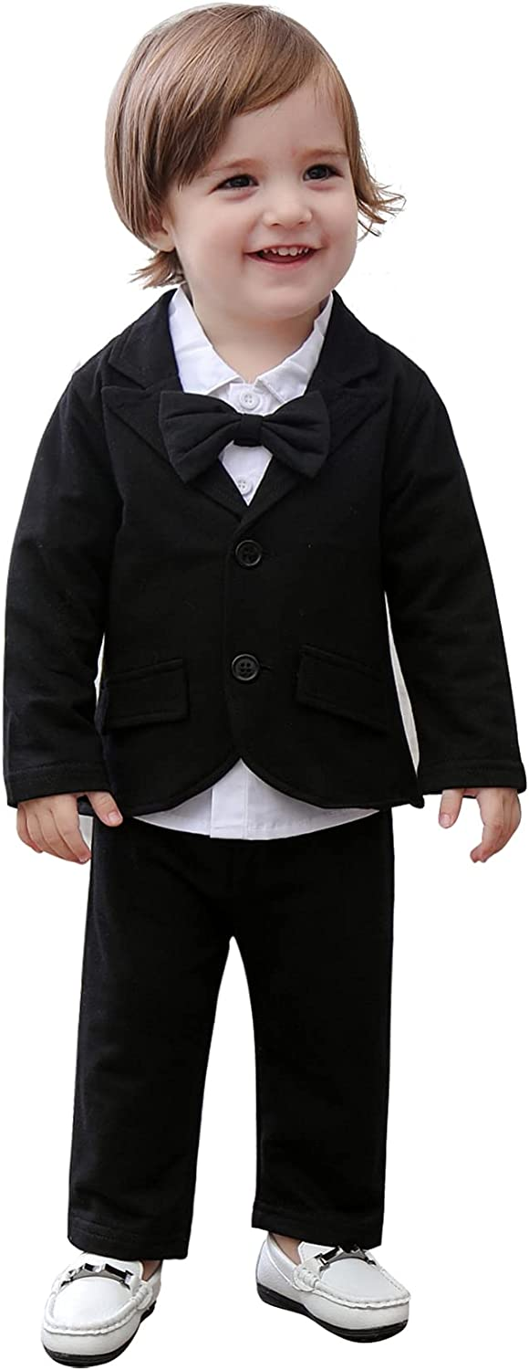 May's Baby Boys' Blazer Long Sleeves Shirts Pants Gentleman Suit 3 Pieces Sets