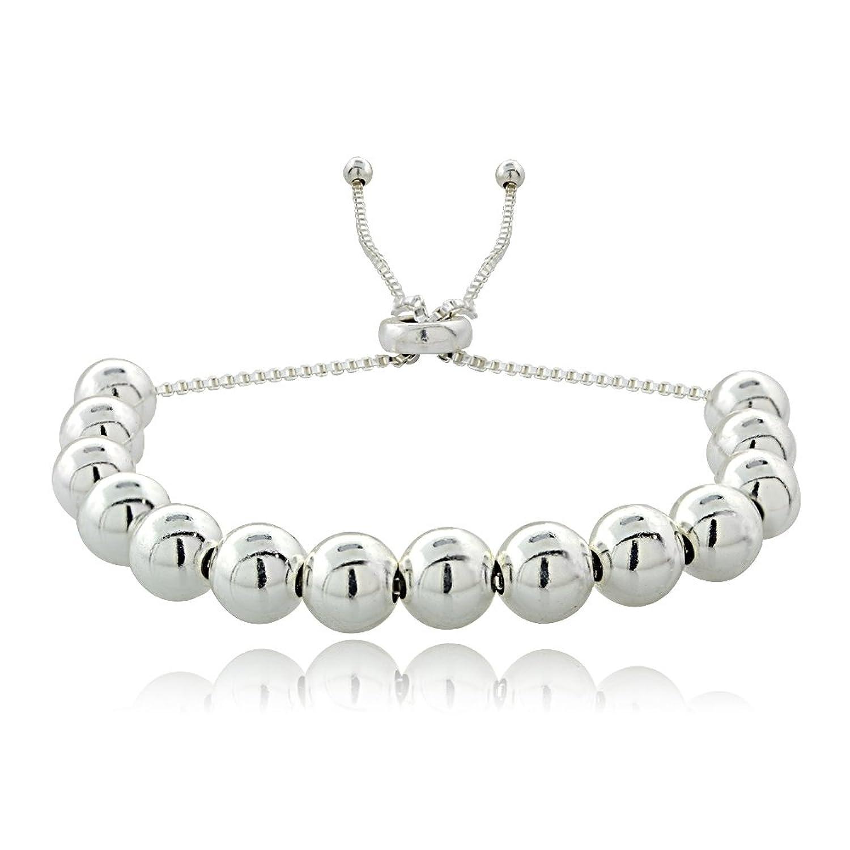 Fashion Jewelry Bracelets 925 Sterling Silver Diamond-Cut MoonBeads Italian Adjustable Bolo Bracelet
