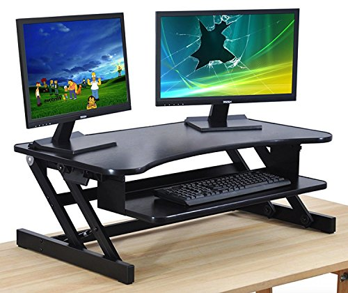 "The House of Trade Standing Desk | Desk Riser Classic Stand Up Desk | 32 in Wide Fits 2 Monitors with Retractable Keyboard Tray (Black, 32"" Wide)"