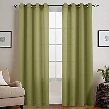 Sheer Curtains For Living Room 95 Inches Long Casual Weave Textured Privacy  Semi Sheer Window Curtain