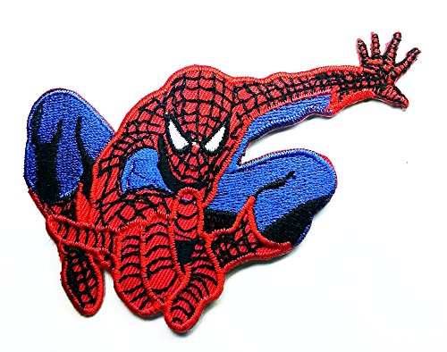 Spiderman Web Superhero Cartoon Patch Embroidered Iron on Hat Jacket Hoodie Backpack Ideal for Gift/ 10cm(w) X 6cm(h)
