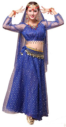Girls Belly Dance Top Skirt Set Halloween Costume with Head Veil,Waist Chain (Fit 11-12 Years/12-13 Years, Royal Blue(Style 2)) -
