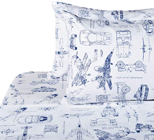 (J-pinno Cars Tank Helicopter Aircraft Military Transport Vehicles Sheet Set Full for Kids Boy Children,100% Cotton, Flat Sheet + Fitted Sheet + Two Pillowcase Bedding Set (1))