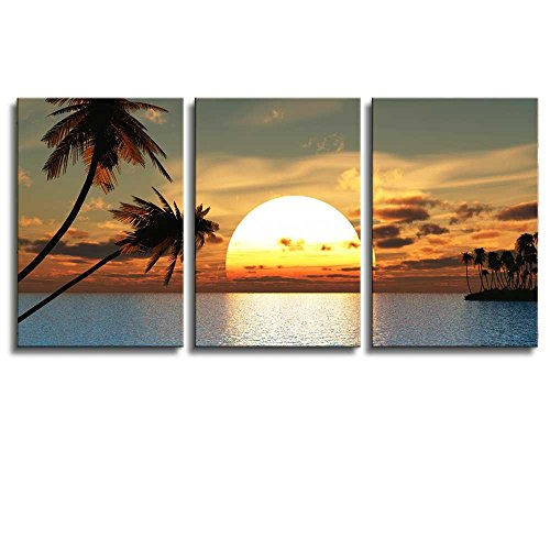 Huge Tropical Palm Tree Sunset Peace x 3 Panels