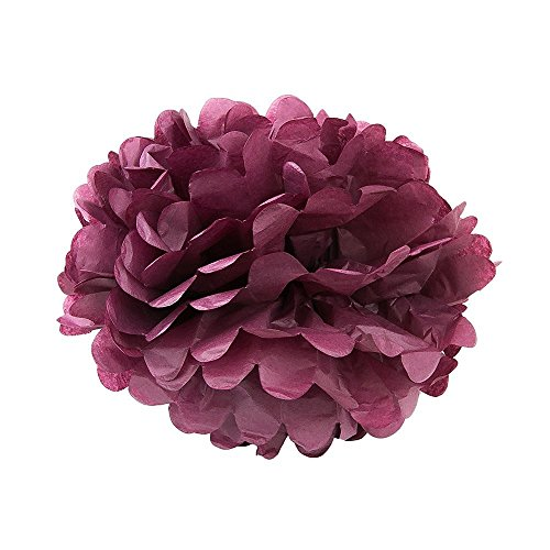 Sorive 5pcs Tissue Paper Pom-poms Flower Ball Wedding Party Outdoor Decoration Wedding / Baby Shower / Birthday Party / Nursery Decorations (14 Inch, Maroon) by Sorive