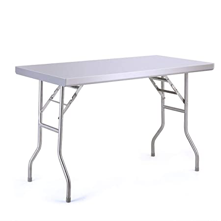 Sandinrayli Stainless Steel Folding Table Picnic Patio Camping Table 48 L x 24 W Heavy Duty