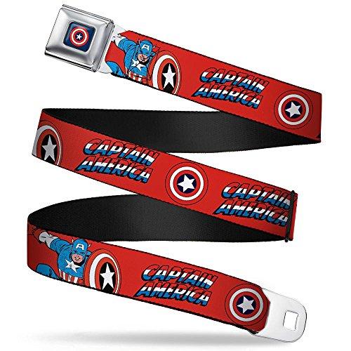 Hawkeye Belt (Captain America W/shield/text Repeat Red Seatbelt Belt)