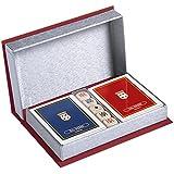 Dal Negro 801463 - Astuccio Setalux Porta Carte da Gioco: Due Mazzi Poker e 5 Dadi Poker, Rosso