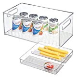 mDesign Set of 2 Storage Bin - Ideal as a Kitchen Tray in The Kitchen Cupboard or as Fridge Box - Clear