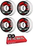 Powell-Peralta 56mm Oval Dragon 4 White/Black/Red Skateboard Wheels - 90a with Bones Bearings - 8mm Bones Super Reds Skate Rated Skateboard Bearings (8) Pack - Bundle of 2 Items