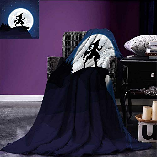 RenteriaDecor Wolf Throw Blanket Full Moon Night Sky Growling Werewolf Mythical Creature in Woods Halloween Queen Size Blanket Dark Blue Black White Bed or Couch 70