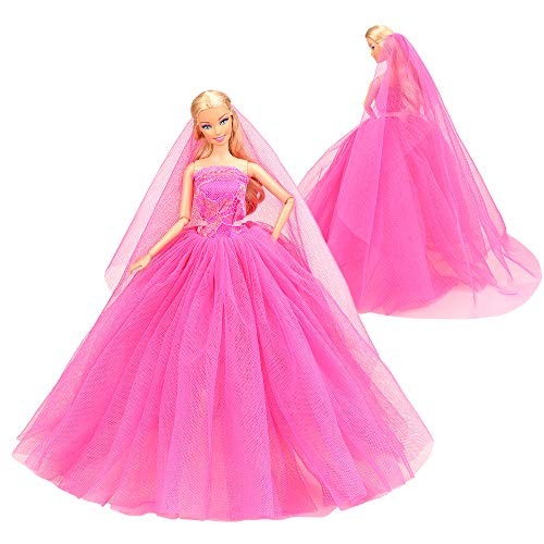 BARWA Beige Wedding Dress with Veil Evening Party Princess Beige Gown Dress for Barbie Doll ... (Rose Red)