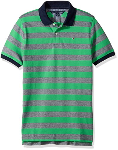 Tommy Hilfiger Little Boys' Short Sleeve Striped Polo Shirt, Jade Green, - Shirt Striped Ribbed Polo