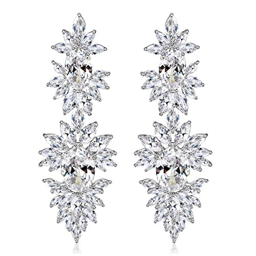 luster Luxury Pierced Large Dangle Earrings Silver Tone Clear Zircon Crystal ()
