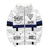 Xairx Men's Lightweight Hip Hop Zip Up Rain Jacket Life Is Short Windbreaker White L