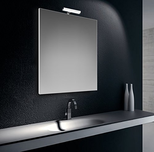Specchiera specchio filo lucido con lampada led cromata 6W IP44, cm.80x60