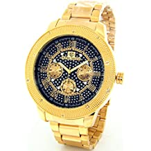 Super Techno Diamond Watch by Joe Rodeo Mens Genuine Diamond Watch Oversized Gold Case Leather Band w/ 2 Interchangeable Watch Bands
